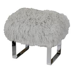 Seating - Curly Tibetan Goat Fur Bench | Pieces - gray tibetan goat fur bench, goat fur bench, gray fur topped bench, polished chrome gray fur bench,