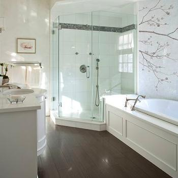 Kate Singer Home - bathrooms - master bath, master bathroom, corner shower, border tiles, stacked tiles, stacked shower tiles, mosaic tiled wall, paneled bathtub, bow front vanity, bow front washstand, footed washstand, footed vanity, footed bathroom vanity,