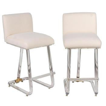 Seating - Pair of Swivel Lucite & Brass Barstools | Pieces - lucite bar stool, lucite barstool, lucite bar stool with white seat, lucite and brass barstool,