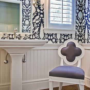 Dog Flock Velvet Wallpaper Eclectic Bathroom Lucy