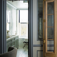 S.R. Gambrel - bathrooms - blue moldings, blue base boards, blue door moldings, blue wall moldings, wall moldings, gray double vanity, gray double washstand,