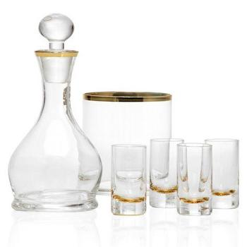 Decor/Accessories - Salud Gift Set - Gold | Z Gallerie - gold trimmed decanter, gold trimmed barware, gold trimmed shot glasses, gold trimmed ice bucket,
