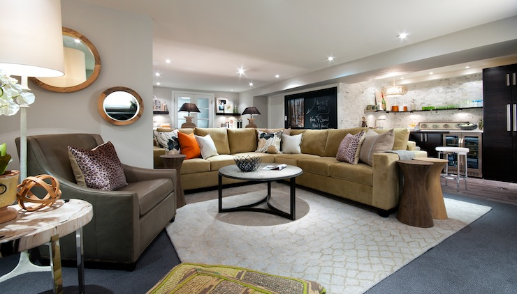 Camel Colored Sectional Transitional Basement