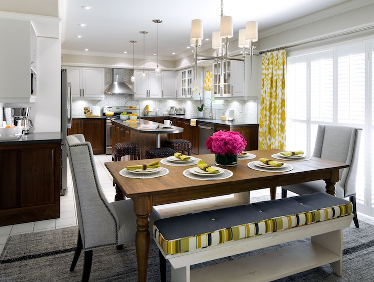 Yellow and gray dining room contemporary kitchen for Kitchen designs by candice olson