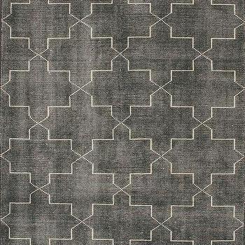 Rugs - Overdye Ulfa Trellis Grey Rug | Rugs USA - gray trellis rug, gray geometric rug, gray moroccan tile rug, gray and white moroccan tile rug,