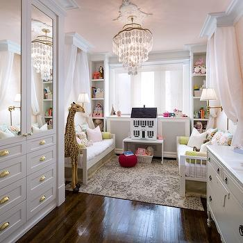 Candice Olson - nurseries - pink walls, pink wall color, pink damask wallpaper, pink ceiling, damask wallpaper, white dresser, white french style dresser, pierced table lamp, yellow pierced table lamp, built-in closets, built-in dresser drawers, mirror front closets, mirror fronted closets, mirrored wardrobe, mirrored built-in closet, hardwood floors, brass hardware, cup pull hardware, brass cup pull hardware, crown molding, ceiling medallion, capiz chandelier, tiered capiz chandelier, toddler beds, white toddler bed, toddler day bed, white bedding, green bolster pillows, green bed skirt, gray and ivory rug, gray and ivory patterned rug, giraffe toy, pink canopy, pink sheer canopy, daybed canopy, dolls house, white side table, bookcases flanking window, bookshelves flanking window, window bookcases, window built-ins, built-in bookcases, built-in bookshelves, toddlers room, twin toddlers room, twin toddler girls room, pink ceiling, pink ceiling, nursery ceiling, nursery with pink ceiling, nursery wallpaper, mirrored doors, kids daybed, ivory and gray rug, yellow lamp, french dresser, nursery closets, kids bed canopy, girls bed canopy, pink and gray nursery, girls nursery, , Melissa and Doug Plush Giraffe,