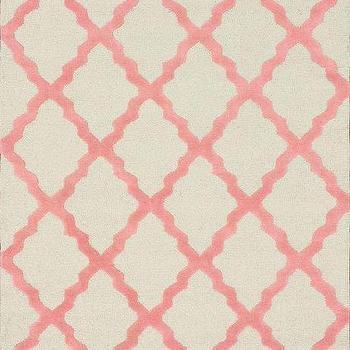 Rugs - Homespun Moroccan Trellis Bubble Gum Rug | Rugs USA - bubble gum pink and white trellis rug, pink and white moroccan trellis rug, pink and white geometric rug, contemporary bubble gum pink and white rug,