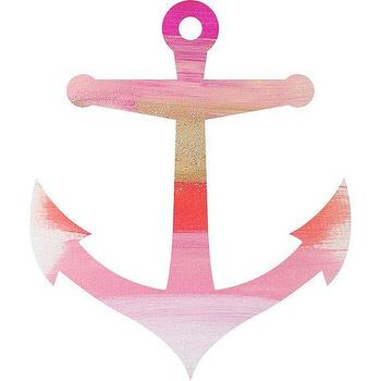 Art/Wall Decor - Anchor Print by PearlsandPastries I Etsy - pink and gold anchor print, pink and gold anchor shaped art print, pink and gold brushstroke anchor art print,