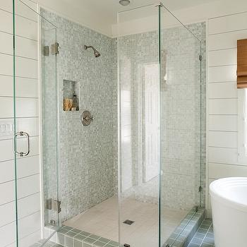 Lauren Liess Interiors - bathrooms - wood paneled walls, wood paneling, shiplap, ship lap, shiplap paneling, shiplap paneled walls, shiplap bathroom walls, shiplap siding, corner shower, seamless glass surround, frameless glass surround, walk-in shower, blue-gray mosaic shower surround, blue-gray mosaic tile, blue-gray mosaic tiled shower surround, blue-gray tiled floor, blue-gray floor tile, white tiled floor, white floor tile, blue-gray tile, white tile, freestanding tub, freestanding bath, traditional rug, persian rug, recessed lighting, pot lights, tiled shower shelf, tiled shower nook, recessed tiled shower shelf, recessed tiled shower shelf, blue gray shower tiles, blue gray glass tiles, blue gray shower surround, blue gray subway tiles,