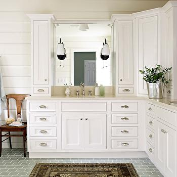 Subway Tiled Floor, Cottage, bathroom, Lauren Liess Interiors