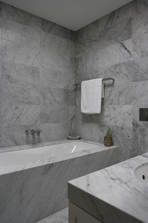 Bathroom With Carrera Marble Modern Bathroom Denai