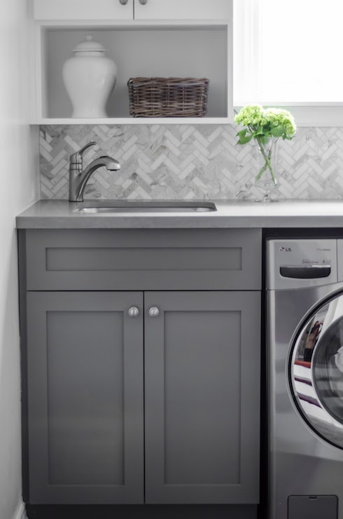 Calacatta Marble Herringbone Tiles - Transitional - laundry room