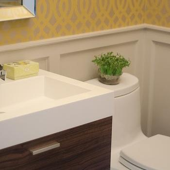 Yellow Trellis Wallpaper, Contemporary, bathroom, Benjamin Moore Revere Pewter, Well Nested Interiors