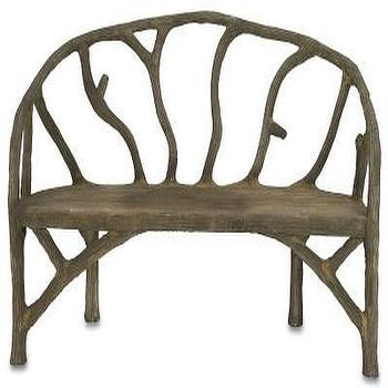 Seating - Arbor Bench design by Currey & Company | Burke Decor - faux trunk bench, faux tree branch bench, tree branch shaped bench,