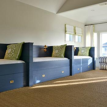 Munger Interiors - boy's rooms: sleepover room, boys sleepover room, builtin beds, twin beds, built in twin beds, blue beds, twin blue beds, blue twin beds, twin bed with storage, trellis pillows, white and green pillows, sisal carpeting,