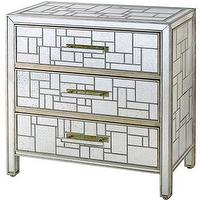 Storage Furniture - Birkhall Chest of Drawers design by Currey & Company | Burke Decor - mirrored chest, geometric mirrored chest, mirrored mosaic style chest, contemporary mirrored chest, mirrored chest of drawers,
