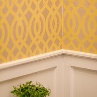 Well Nested Interiors - bathrooms - wainscoting, gray wainscoting, light gray wainscoting, revere pewter, trellis wallpaper, yellow trellis wallpaper, powder room wallpaper, wallpaper for powder rooms, powder room wainscoting, wainscoting in powder room, , Du Barry Wallpaper,
