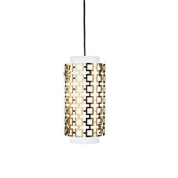 Lighting - Jonathan Adler Collection Pendant by Robert Abbey | Burke Decor - modern bronze and white glass pendant, geometric bronze and frosted glass pendant, modern bronze and frosted glass pendant light,