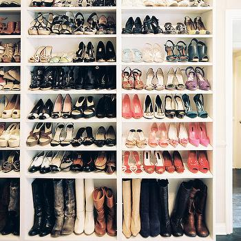 Lonny Magazine - closets - shelves for shoes, shoe shelves, shelves for boots, boot shelves, shoe closet, shoe storage ideas, boot storage, boot storage ideas, how to store boots,