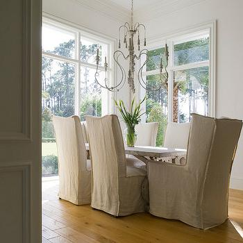 Yawn Design Studio - dining rooms - french dining room, candle chandelier, gray candle chandelier, trestle dining table, slipcovered dining chairs, linen slipcovered dining chairs, linen slipcover dining chairs, captain dining chairs, wingback captain dining chairs,
