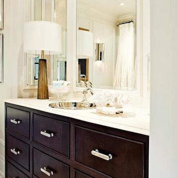 Elizabeth Metcalfe - bathrooms - vanity nook, washstand nook, bathroom nook, espresso washstand, espresso vanity, espresso bathroom vanity, espresso cabinets, espresso bath cabinets, white beveled counters, white beveled countertops, hammered sink, round sink, round hammered sink,