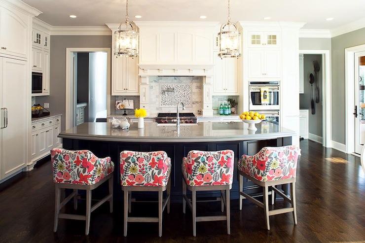Curved Kitchen Island, Contemporary, kitchen, Benjamin Moore Valley Forge Tan, Martha O'Hara Interiors