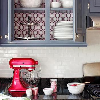 Wallpaper on back of Cabinets, Eclectic, kitchen, DIY Network