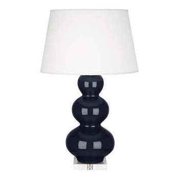 Lighting - Robert Abbey Triple Gourd Celadon Table Lamp in Midnight Blue I homeclick.com - dark blue triple gourd lamp, midnight blue triple gourd lamp, midnight blue triple gourd lamp on lucite base,