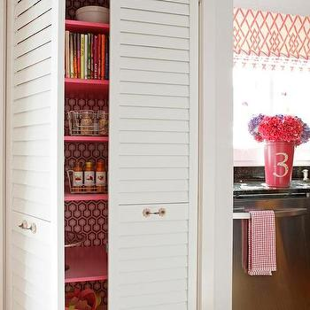 DIY Network - kitchens - wallpaper in pantry, pantry wallpaper, wallpaper pantry, louvered doors, pantry doors, louver pantry door, louvered pantry doors, pink shelves, pantry, kitchen pantry, pantry shelves, pantry shelving, pink pantry shelves, david hicks wallpaper, kitchen pantry wallpaper, wallpaper in kitchen pantry, white louvered doors, bi fold pantry doors, pantry bi fold doors, louvered bi fold doors, hot pink accents, Hicks Hexagon Wallpaper,