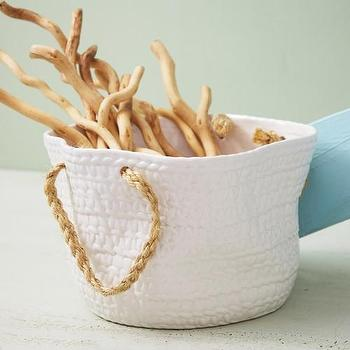 Decor/Accessories - Rope Handles Basket design by Twos Company | Burke Decor - ceramic basket, white ceramic basket, white ceramic basket with hemp handle,