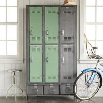 Storage Furniture - VIintage Sixties Storage Locker I Robert Redford's Sundance Catalog - steel locker, reclaimed steel lockers, refurbished storage locker, reclaimed school lockers,