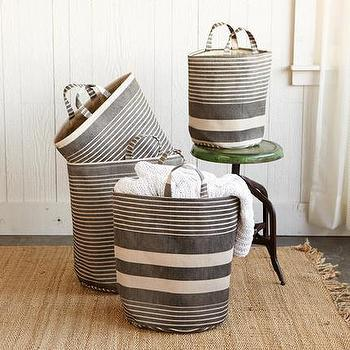 Decor/Accessories - Striped Storage Quartet, Set Of 4 | Robert Redford's Sundance Catalog - gray and white storage totes, striped gray tote, white and gray striped tote,