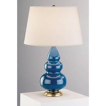 Lighting - Robert Abbey Small Triple Gourd 1 Light Table Lamp in Blue I homeclick.com - blue triple gourd lamp, blue triple gourd lamp on brass base, blue gourd lamp on brass base,