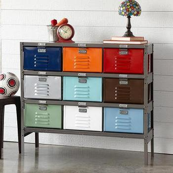 Storage Furniture - Vintage 9-Drawer Locker | Robert Redford's Sundance Catalog - multi-colored steel locker, salvaged steel locker, multi-colored locker drawers,