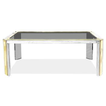 Tables - Jonathan Adler Sartre Coffee Table | AllModern - polished nickel and brass coffee table, nickel and brass coffee table with smoked glass top, silver and gold coffee table with glass top, silver and gold coffee table with smoke glass top,