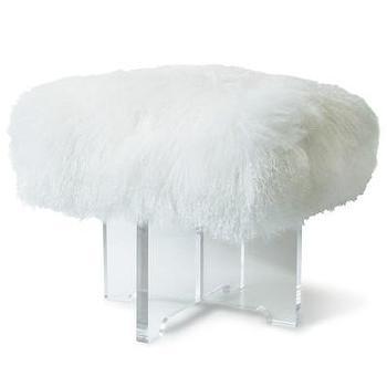 Seating - Jonathan Adler Mongolian Lamb Bench | AllModern - mongolian lamb lucite bench, lucite bench with mongolian wool seat, mongolian wool lucite bench,