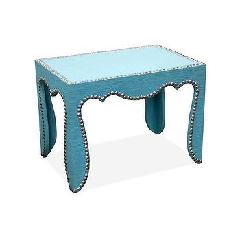Tables - Jonathan Adler Rococo Accent Table | AllModern - turquoise side table with nailhead trim, modern turquoise side table, turquoise accent table with nailhead trim,