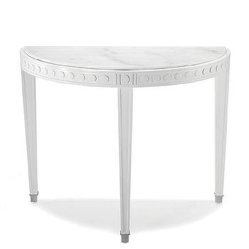 Tables - Jonathan Adler Regent Demilune Console Table | AllModern - white demilune console table, marble topped white demilune console table, white marble top demilune console table,