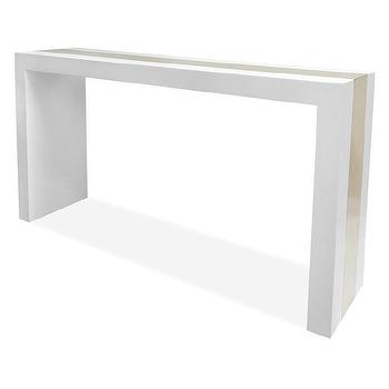 Tables - Jonathan Adler Lacquer Laminate Console Table | AllModern - white lacquered console table with gold stripe, white lacquered console with gold detail, modern white lacquer console table with gold centered stripe,