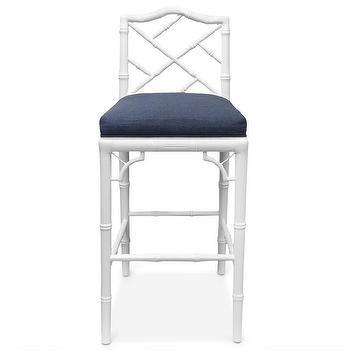 Seating - Jonathan Adler Chippendale Barstool | AllModern - white faux bamboo barstool, white chinoiserie barstool, white lacquered faux bamboo barstool, glossy white bamboo barstool with navy seat,