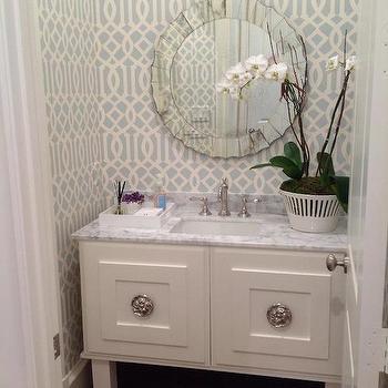 Gray Trellis Wallpaper Contemporary Bathroom Atlanta