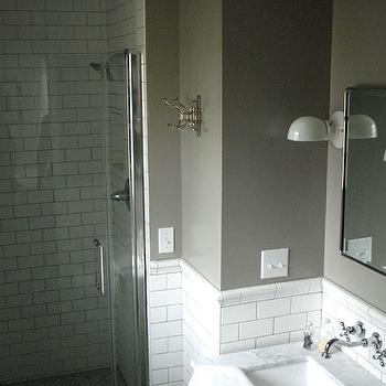 Restored Style - bathrooms - Farrow and Ball - Blue Gray - subway tile, subway tile with gray grout, subway tile with dark gray grout, marble counter, marble countertop, nickel towel hook, walk-in shower, glass front shower, glass shower door, subway tiled shower surround, white subway tile, subway tile shower surround, carrera marble, carrera marble counter, carrera marble countertop, wall mount faucet, wall mounted faucet, wall mounted hot and cold faucet, wall mount hot and cold faucet, white sconce, modern white sconce, nickel framed mirror, nickel framed beveled mirror, vanity mirror, gray walls, gray wall color, wainscoting, tiled wainscoting, subway tile wainscoting, carrera marble hex floor, carrera marble hex tile floor, gray vanity, gray bathroom vanity, gray single vanity, gray washstand, gray single washstand, white and gray bathroom, gray paint colors,