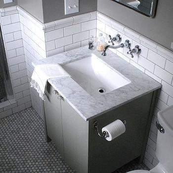 Restored Style - bathrooms - Farrow and Ball - Blue Gray - subway tile, subway tile with gray grout, subway tile with dark gray grout, marble hex floor tile, hex marble tiled floors, carrera marble hex tile, carrera marble hex tiled floors, hexagonal marble tiled floors, gray vanity, toilet, marble counter, marble countertop, fouta towel, nickel hardware, small bathroom, wall mount faucet, wall mounted faucet, wall mount hot and cold faucet, wall mounted hot and cold faucet, subway tile wainscoting, tiled wainscoting, gray walls, gray wall color, carrera marble, carrera marble counter, carrera marble countertop, carrera marble hex floor, carrera marble hex tile floor, gray vanity, gray bathroom vanity, gray single vanity, gray washstand, gray single washstand,