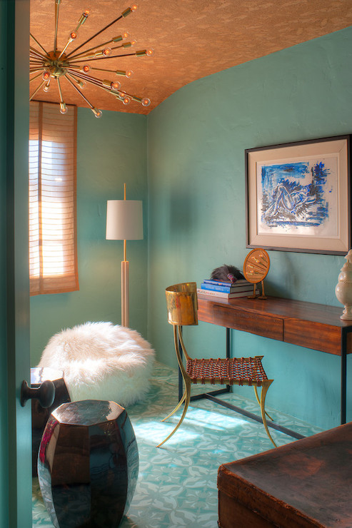 Turquoise Paint Colors - Eclectic - den/library/office - Dunn Edwards Barrier Reef - Copper Gyer ...