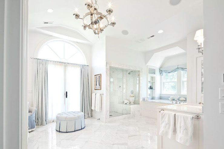 Luxurious master bathrooms transitional bathroom for Master bathroom vaulted ceiling