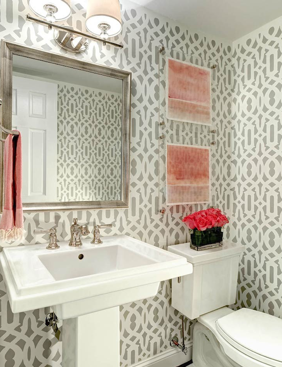 Trellis walls contemporary bathroom traci zeller designs for Pink and grey bathroom ideas