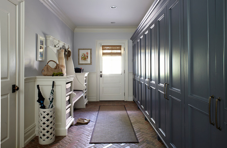 Herringbone brick floor cottage laundry room degraw Mudroom floor