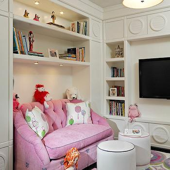 Pink Tufted Sofa, Transitional, girl's room, Fanny Haim and Associates