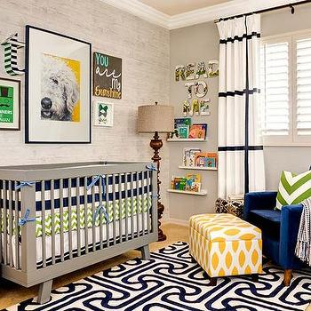 Gorgeous nursery with plantation shuttered windows dressed in black and white grid ...