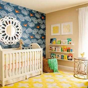 Adorable nursery with white crib dressed in pink, yellow and white crib bedding ...